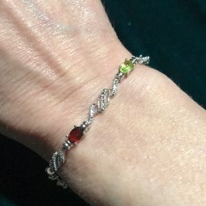 Jewelry - Multi stone bracelet set in silver 7 1/4 inches